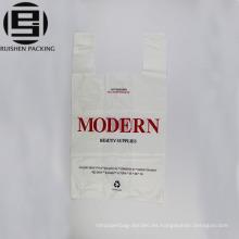 Diseño de moda blanco impreso bolsa de plástico de la camiseta