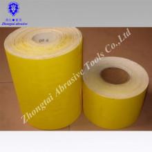 Rouleau de papier de verre jaune corindon CWT papier blanc / rouleau de papier abrasif