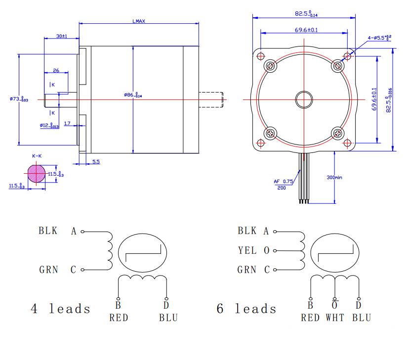 2-phase high precision hybrid stepper motor NEMA 34 flexible motor body length