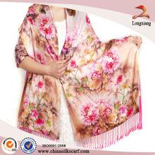 Doble capa de seda sensación de señora Pashmina bufanda