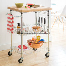 NSF Chrome Plated Metal Wire Restaurant Serving Cart Trolley