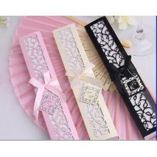 Crema Blanca Embalaje Caja de Regalo Personalizada Fan Regalo de Boda al por mayor