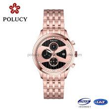 China Hersteller-kundenspezifische rostfreie Edelstahl-Chronograph-Uhr 5ATM