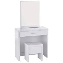 Juego de tocador de 2 piezas con almacenamiento de espejo oculto y taburete con levantamiento blanco