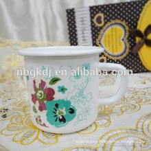 white enamel mug printing flower decal bulk enamel mugs