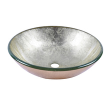 Gold Color Foil Undertone Bathroom Glass Wash Basin