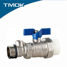 Temperature measurement Brass PPR Ball Valve 1 inch long or Butterfly handle in TMOK valvula