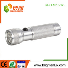 Factory Bulk Sale 3*AAA Battery Powered Metal Logo printed Silver Color Portable 12 led Aluminum led Torch Light