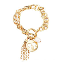 Exaggerated multi-layer chain bracelets double tassel pendant pearl bracelet