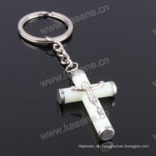 Heißer Verkaufs-katholischer leuchtendes grünes Jesus-Kreuz Keychain