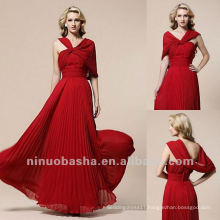 Red Knot Front Sheath Sweep Train Waistband Pleated Mother Of The Bridal Dress
