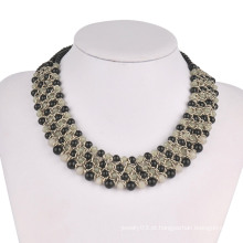 Diamantes cheios em copos de metal em 3 rolos colar de moda (xjw13604)