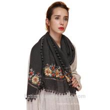 Moda bordado borla cachecol prémio algodão viscose hijab