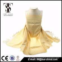 Hot new products for 2015 yellow tassel design for girl shawl scarf
