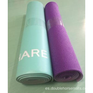 Material PVC estera de yoga en relieve de doble color