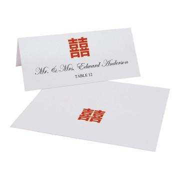 Tarjetas de impresión de lugar fácil de la felicidad doble china roja y blanca Tarjeta de invitación de boda