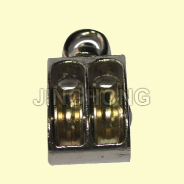 Nickel Plated Swivel Eye US Type Pulley With Double Wheels
