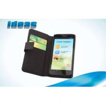 Black Cowhide Huawei Leather Case for Huawei Ascend D1 U951