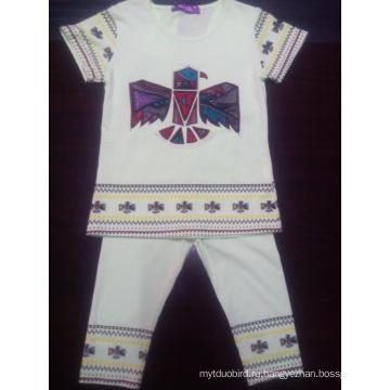 Летние дети девушки костюм Детская одежда