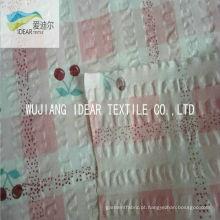 Impresso tecido Seersucker puro 100% algodão para vestuário