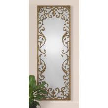 Espejo de baño / metal enmarcado con flores de resina Espejo de pared decorado