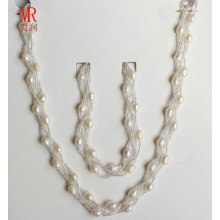 6-7mm Rice Shape Fresh Water Pearl Necklace Bracelet Set