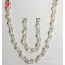 6-7мм риса формы пресной воды жемчужиной ожерелье браслет Set