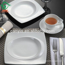 Newest Fashion bulk square shape ceramic dinner plain white plates
