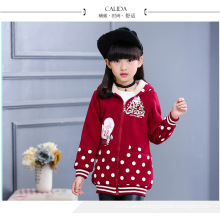 dotted coats pink clothes baby girls 4-14 years old winter jackets warm good quality hoodies children coats with fur