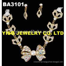 Conjunto de jóias para casamento de fantasia flor AB