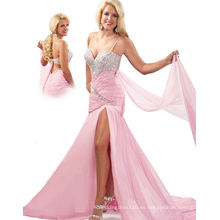 Vestido de fiesta del vestido del desfile de la correa de espagueti del hombro de la plata y del rosa uno con el marco y los Rhinestones RO11-18
