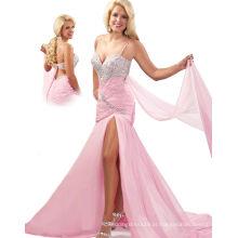 Silver & Pink One Shoulder Spaghetti Strap Vestido de festa Vestido com faixa e strass RO11-18