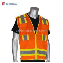Personalizado de Alta Qualidade de 360 Graus Visibilidade Segurança Heavy Duty Colete Oi Vis Amarelo Laranja Segurança Trabalho Casacos EN20471 Zíper Frontal