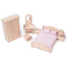 Деревянная мебель для мини-игрушек Маленькая натуральная спальня для игры в игрушки Play YT1117