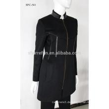 Neue Mode Frauen Stehkragen Woll Kaschmir Mantel