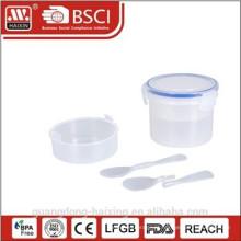 Recipiente de armazenamento de comida de plástico hermético de alta qualidade com colher