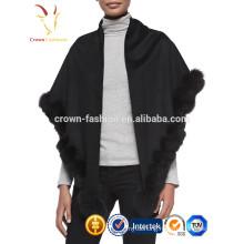 Fashion Women Cashmere Scarf Shawl With Rabbit Fur Trim