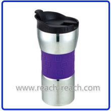 Tasse de 400ml Double paroi en acier inoxydable (R-2309)