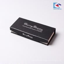 venta al por mayor de sellado de plata negro caja de pestañas de visón embalaje logotipo personalizado de cartón magnético