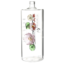 Unique Shaped Wine Glass Bottle  1 liter liquor bottle