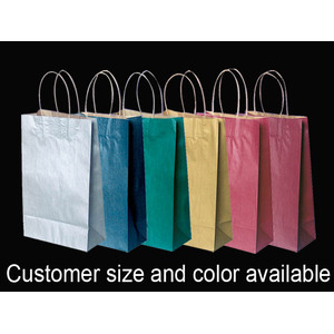 Shopping bag di carta colorata a manico ritorto