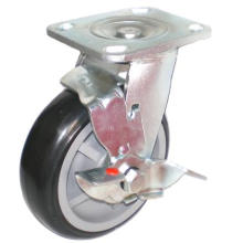 EH07 Swivel PU Caster with Side Brake (Black)