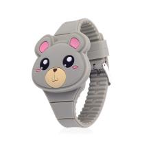 Cheap OEM Cute Bear Shape Fashion Silicone Animal Shape Clamshell Design Analog Digital Watches