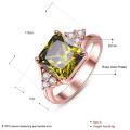 Grünes Zicron Ring Gold überzogene Diamant-Frauen-Schmucksachen