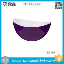 Tazón de fuente de porción ligera interior Premier Purple Outside White
