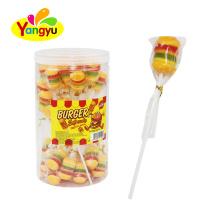 Halal Burger Soft Candy Fruits Flavor Gummy Lollipop