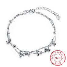Acier 925 Sterling avec plusieurs Bracelet Bowknot Pole Chain Charm Gracile Bracelet