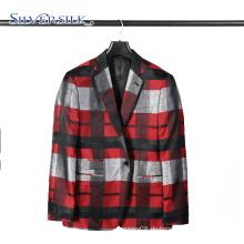1 Knopf Kleidungsstück Business Anzug Herren Check Blazer