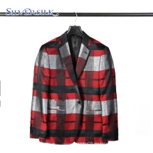 Traje de negocios de 1 botón para hombre, chaqueta a cuadros