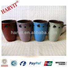 Fabrication de céramique en Chine Tasse en forme de baril réactif et glacé